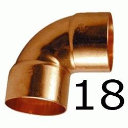 CODO HEMBRA HEMBRA FIGURA 90 DE COBRE DE 18, HH Recomendado ECNMC PARA SOLDAR CODOS Cu H/H H-H 90º copper elbows