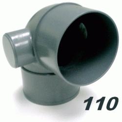 CODO DE PVC PARA ENCOLAR DE 110 87º MACHO HEMBRA DOBLE TOMA DE 50 GRIS